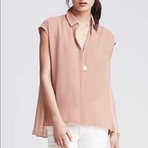 Pink button down with pleated back
